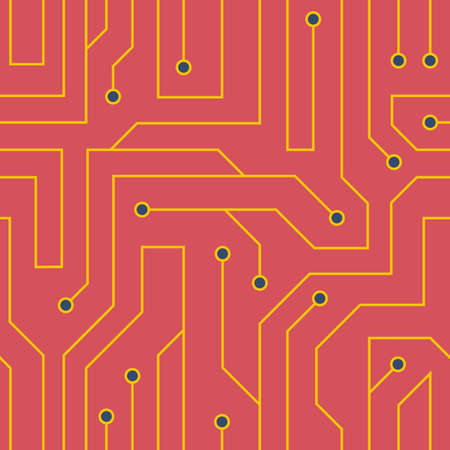 circuitry: flat style red circuit board background. Electrical scheme seamless pattern Illustration