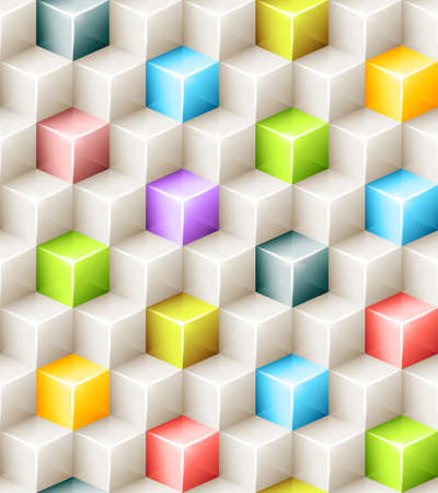 geometric seamless pattern with bright colored cubes.  Vector