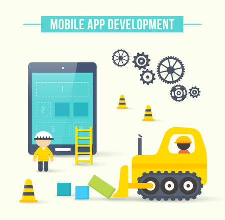 Flat style vector illustration concept of mobile app development. Infographic design for process of smartphone application construction Ilustrace