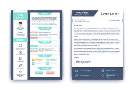 Currículum vitae y carta de plantilla. Ilustración vectorial de estilo plano. Foto de archivo - 33855377
