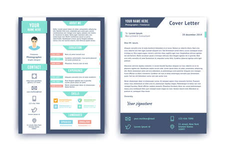 Resume and cover letter template. Flat style vector illustration. Reklamní fotografie - 33855377