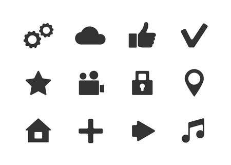 sign up button: Vector apps icon set with cloud, home, check, video, lock, pointer, music, arrow, star icons over white background.