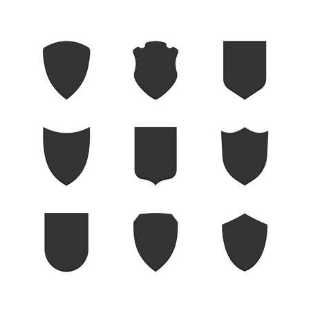 escudo: Escudo enmarca iconos simples establecidos. S�mbolos negros Vectores