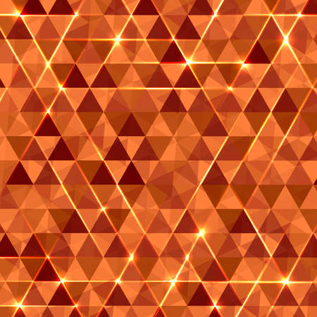 Abstract geometric vector background with glowing triangles. Orange circuit board background.