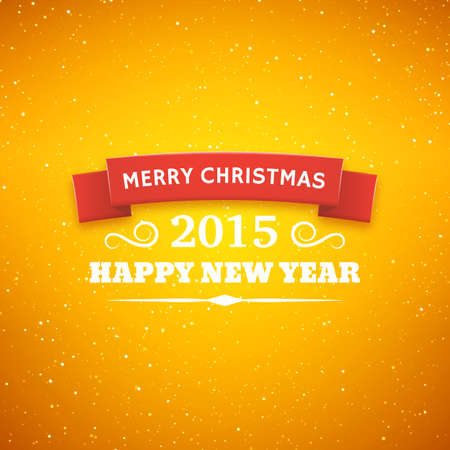Merry Christmas typography styled vector background. Greeting card for 2015 new year. Bokeh lights backdrop Vector