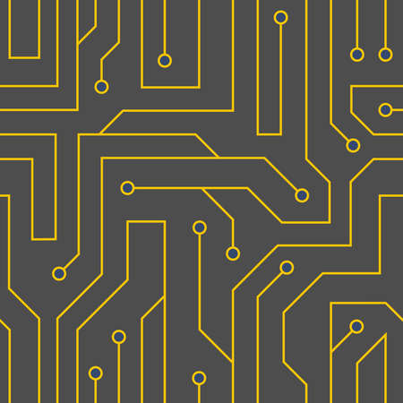 Vector flat style black circuit board background. Electrical scheme seamless pattern