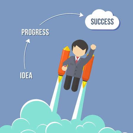 rocket man: Businessman Flying On the Rocket To Success. Flat style vector infographic illustration Illustration