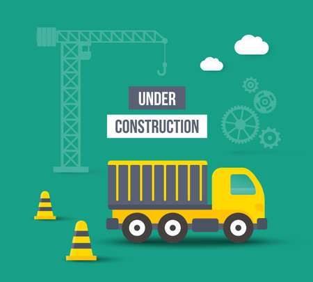 Under construction. Vector background in flat style. Concept of city building Çizim
