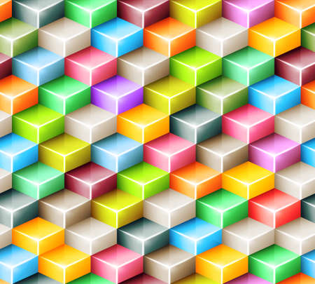 Vector geometric seamless pattern with bright colored cubes. Tiled mosaic background with 3D glass shapes. Web design concept Ilustrace