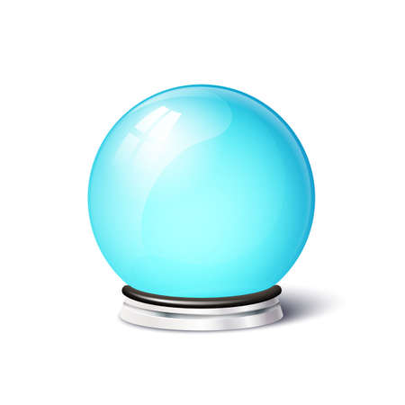 metal base: Isolated vector magic spiritual ball. Empty snowglobe on metal base Illustration