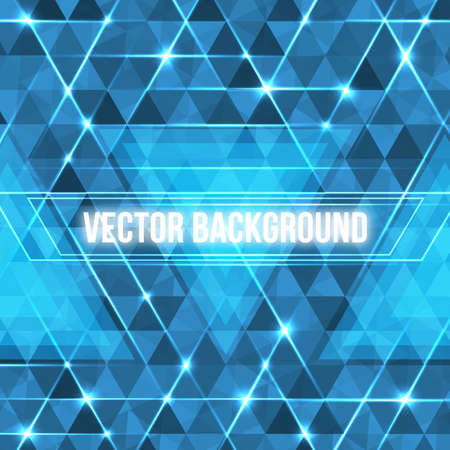 Abstract geometric background with glowing triangles. Vector blue circuit board background.