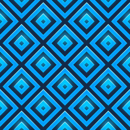parallelepiped: Seamless vector pattern with blue glossy squares. Retro pattern of geometric shapes.