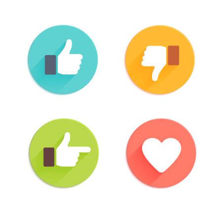 엄지 손가락 아이콘을 설정합니다. 응용 프로그램 및 웹 사이트 플랫 스타일의 소셜 네트워크 벡터 아이콘 일러스트