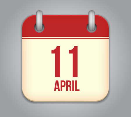 eleventh: Vector calendar app icon. 11 April Icon