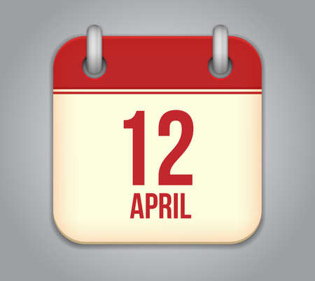 12: Vector calendar app icon. 12 April Icon