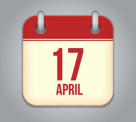 seventeenth: Vector calendar app icon. 17 April Icon Illustration