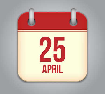 25: Vector calendar app icon. 25 April Icon