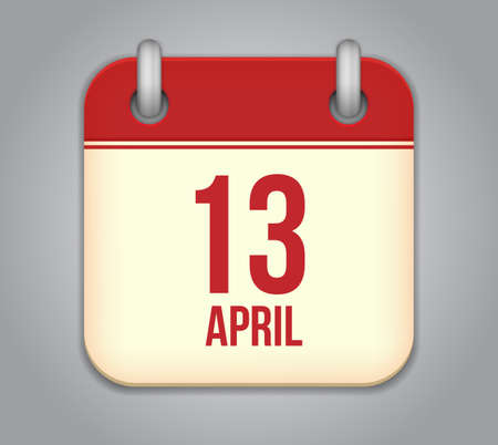 Vector calendar app icon. 13 April Icon Vector