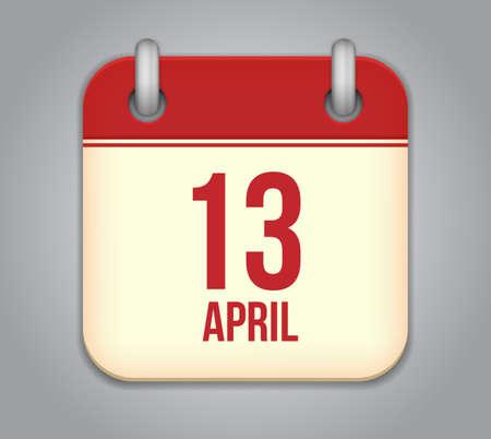 13: Vector calendar app icon. 13 April Icon