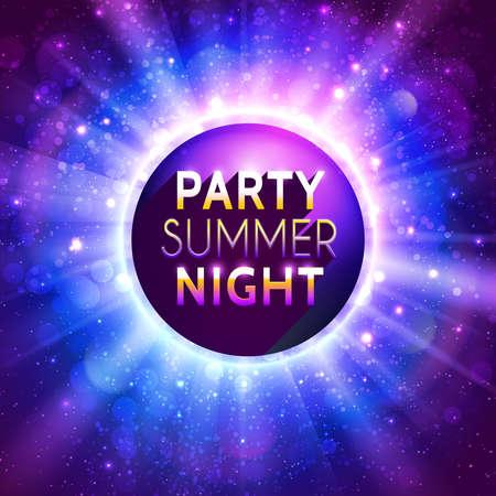 Brillante bola de discoteca decorativo con título en fondo púrpura bokeh del vector. Plantilla del aviador para la fiesta de la noche de verano.