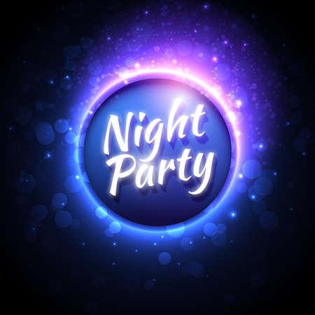fiesta: Vector plantilla de volante para el partido de la noche. Fondo abstracto Premium con bokeh desenfocado luces