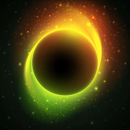 distant: Beautiful eclipse in a distant galaxy. Starry sky with dark planet at the center. Vector cosmic background green and orange colored.