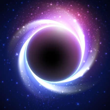 Piękne zaćmienie w odległej galaktyce. Gwiaździste niebo z ciemnym planety w środku. Wektor niebieskie tło kosmiczne i fioletowym kolorze.