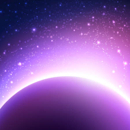 purple abstract background: Space background with planet and shining sun. Vector illustration of starry sky Illustration