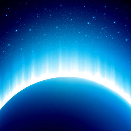 space: Dark blue colored space background with beautiful eclipse. Vector illustration. Rising Sun over the planet
