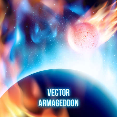 View from space at meteor on his way to planet before collision. Fiery comet in atmosphere. Vector illustration. Abstract background. Scenic view of armageddon or apocalypse Illustration