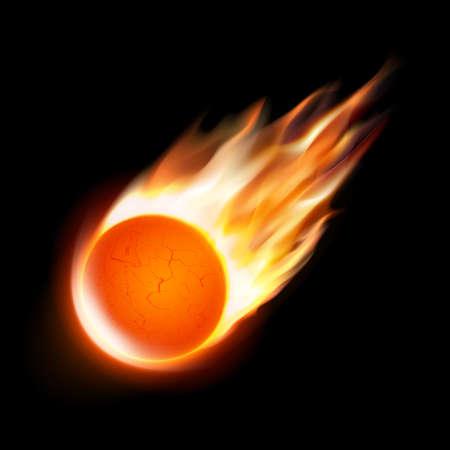 Cometa aislada sobre fondo negro. Ilustración del vector. Bola de fuego, meteoritos o icono de asteroides.