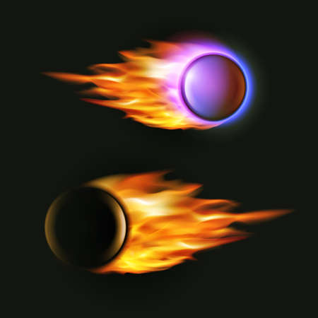projectile: Vector fireball on black background. Falling asteroid. Collection of fire balls. Flying artillery projectile in flames Illustration