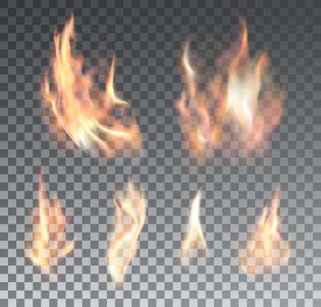 fuoco e fiamme: Set di fiamme del fuoco realistiche su sfondo trasparente. Effetti speciali. Illustrazione vettoriale. Elementi traslucidi. Griglia di trasparenza