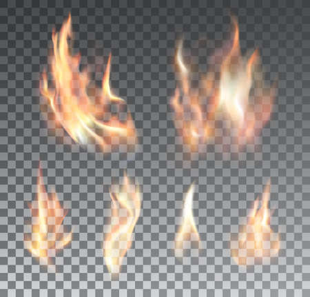 Set of realistic fire flames on grid background. Special effects. Vector illustration.