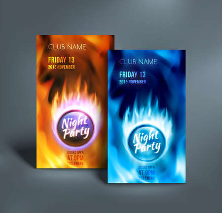 flames of fire: Night club colorful flyer templates. Night party poster. Abstract red and blue burning fire flames. Fire ball on blazing background. Vector illustration Illustration