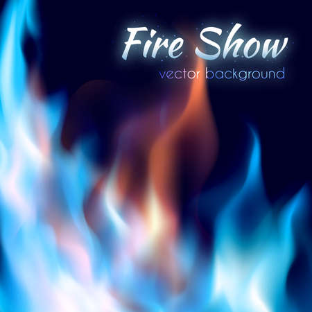 Fire show poster. Abstract red and blue burning fire flames on black background. Fire frame vector illustration.
