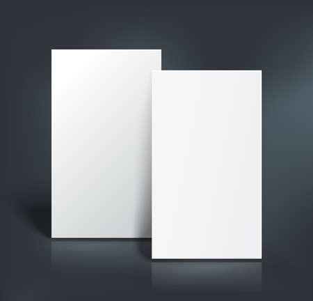 hoja en blanco: Pila de dos páginas en blanco. Folletos, tarjetas de visita, postal o una plantilla maqueta volante. Ilustración del vector.