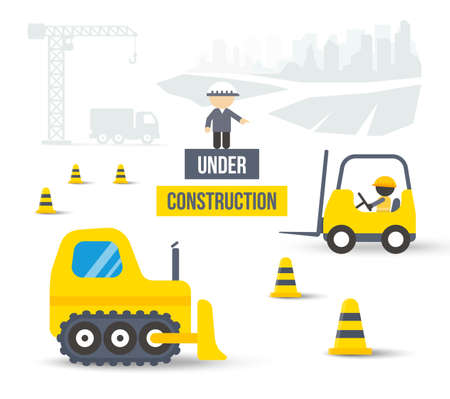 Construction site with crane, truck, loader, buldozer and workers. Skyscraper silhouettes on background. Flat style or material design vector illustration. Çizim