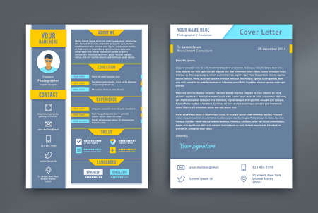 curriculum vitae: Resume and cover letter or cv template. Flat and material design styled curriculum vitae. Mail, phone, portfolio, social network, location pointer vector icon.