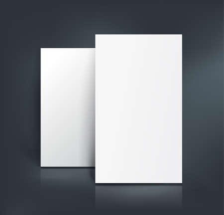 paper sheets: Stack of two white paper sheets. Booklet, page, business card, postcard or flyer mockup template. Vector illustration.