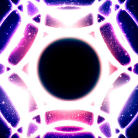 galactic center: Fire glowing circles on a background of the starry space. Black hole at the galactic center. Abstract space vector illustration. Mosaic pattern