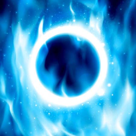 fire ring: Anillo azul de fuego. Ilustraci�n del vector. Resumen de fondo con llamas de fuego y copyspace. C�rculo de fuego en el cartel para el circo. Aro ardiente Vectores