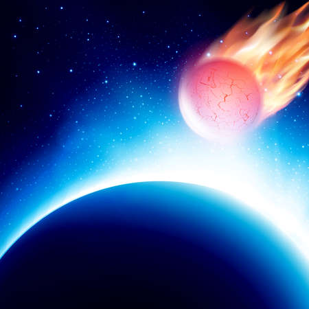 the end of the world: View from space at meteor on his way to planet before collision. Fiery comet in atmosphere. Vector illustration. Abstract background. Scenic view of armageddon or apocalypse Illustration