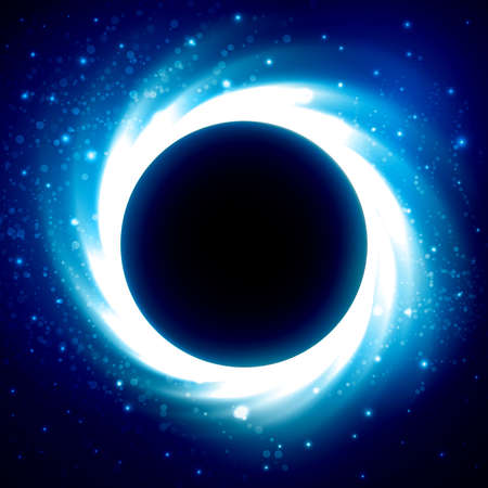 Black hole or collapsar in outer space. Beautiful eclipse in a distant galaxy. Starry sky with dark planet at the center. Blue colored cosmic vector background. Çizim