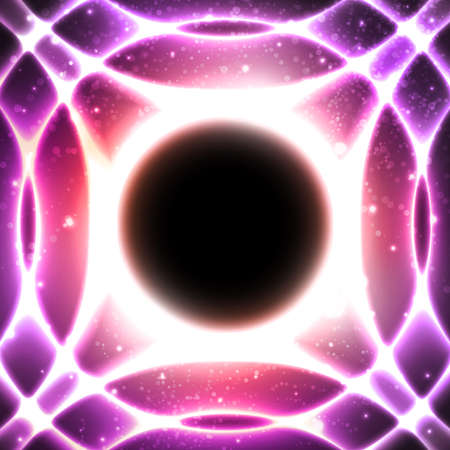 Fire glowing circles on a background of the starry space. Black hole at the galactic center. Abstract space vector illustration. Mosaic pattern