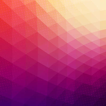 Colorful abstract geometric vector background. Triangle shapes. Mosaic pattern. Hipster background with copyspace. Retro styled banner template. Halftone effect