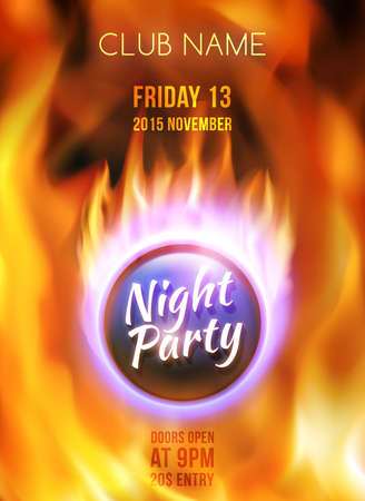 gas ball: Night club colorful flyer template. Summer night party poster. Abstract red burning fire flames. Fire ball on blazing background. Vector illustration