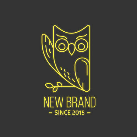 Vintage owl logo in thin line style. Vector illustration. Retro emblem or logotype for educational brand.