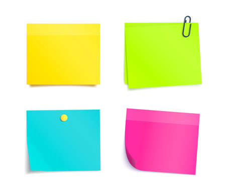 Vector colorful sticky notes on white background. Memo, paper sheet, notepad pages and elements for attaching. Blank reminder sheet.
