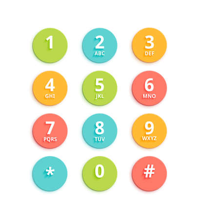 payphone: Vector flat colored keypad for phone. Material design round buttons with numbers and alphabet. Mobile phone UI. Illustration